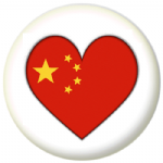 China Country Flag Heart 25mm Pin Button Badge